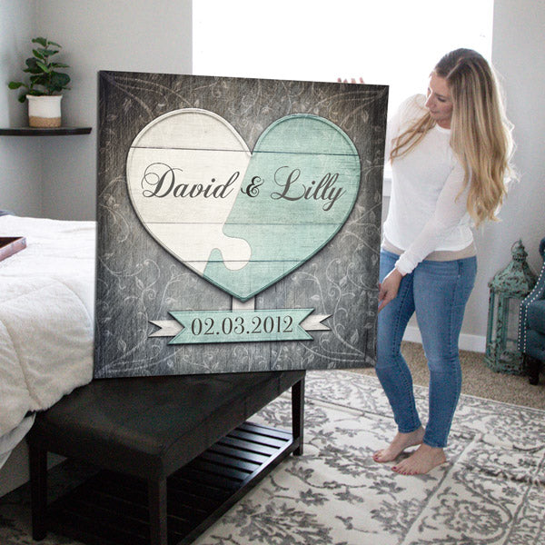"Personalized ""Puzzle Heart"" Premium Canvas Wall Art"
