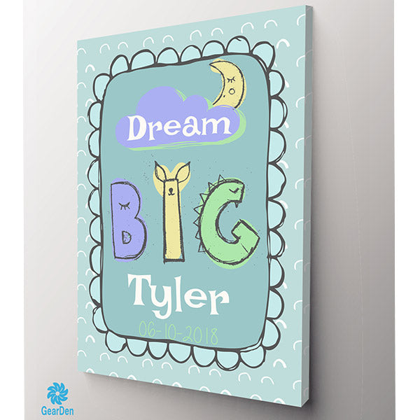 personalized dream big childs name canvas decor gift