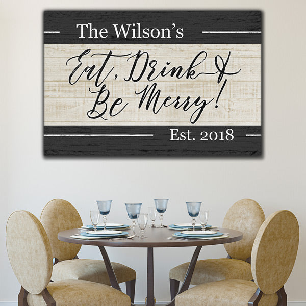 "Personalized ""Eat, Drink, & Be Merry"" Premium Canvas"