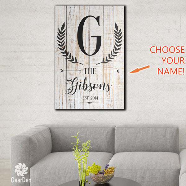 Personalized Family Initial and Name Premium Canvas