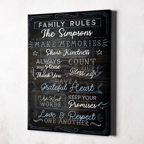 "Personalized ""Family Rules...Love & Respect One Another"" Premium Canvas Wall Art"