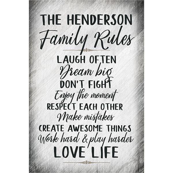 "Personalized ""Family Rules.."" Premium Canvas"