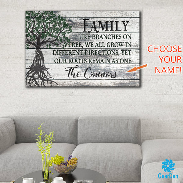 personalized family tree with name canvas wall art