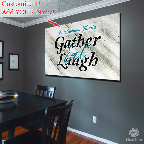 "Personalized ""Gather, Eat, Laugh"" Canvas Wall Art"