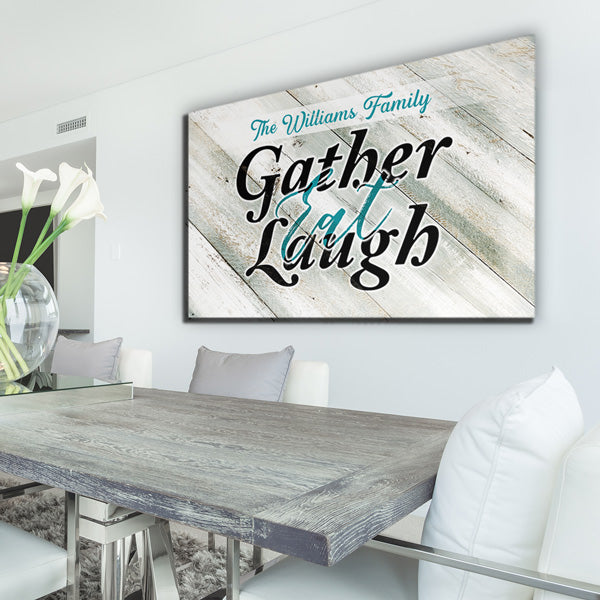 "Personalized ""Gather, Eat, Laugh"" Premium Canvas"