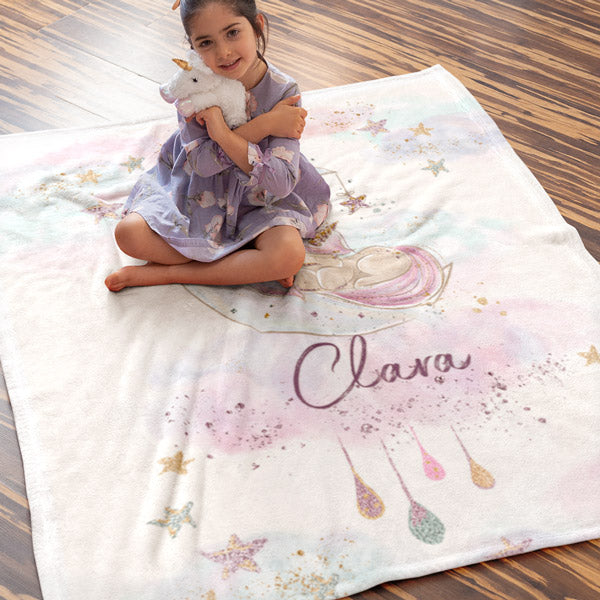 Personalized Name Premium Unicorn Blanket