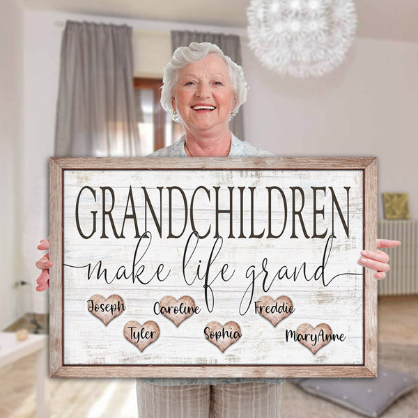 "Personalized ""Grandchildren Make Life Grand"" Premium Canvas"