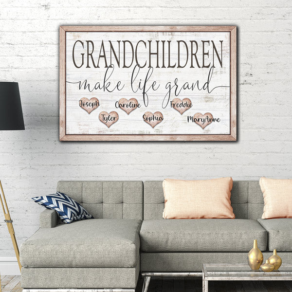 "Personalized ""Grandchildren Make Life Grand"" Premium Canvas Wall Art"