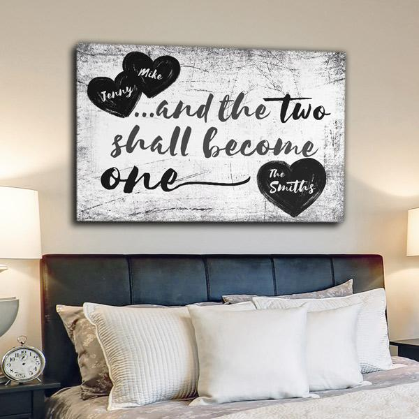 "Personalized ""And The Two Shall Become One"" Premium Canvas Wall Art"