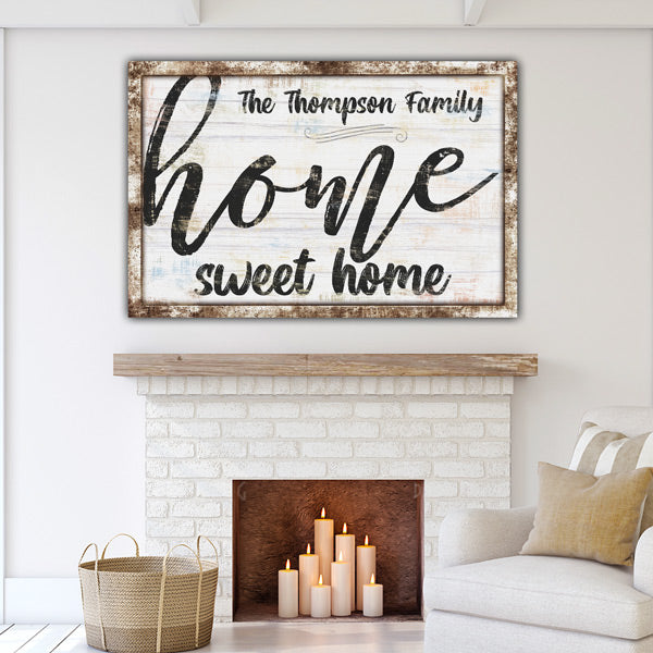 "Personalized ""Home Sweet Home"" Rustic Premium Canvas Wall Art"