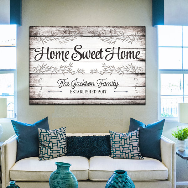 "Personalized ""Home Sweet Home"" Premium Canvas Wall Art"