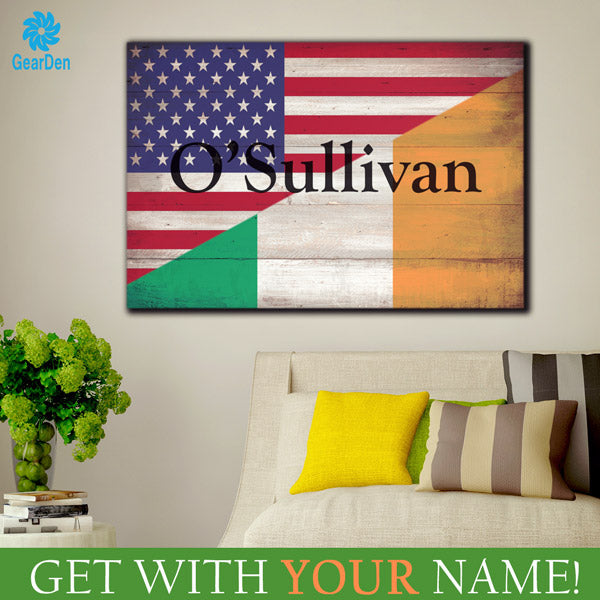 personalized irish american family name on flag  wall art