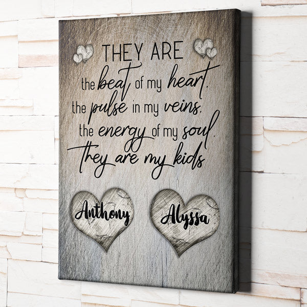 "Personalized ""They Are The Beat Of My Heart"" Premium Rustic Canvas"