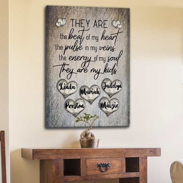 "Personalized ""They Are The Beat Of My Heart"" Premium Rustic Canvas Wall Art"