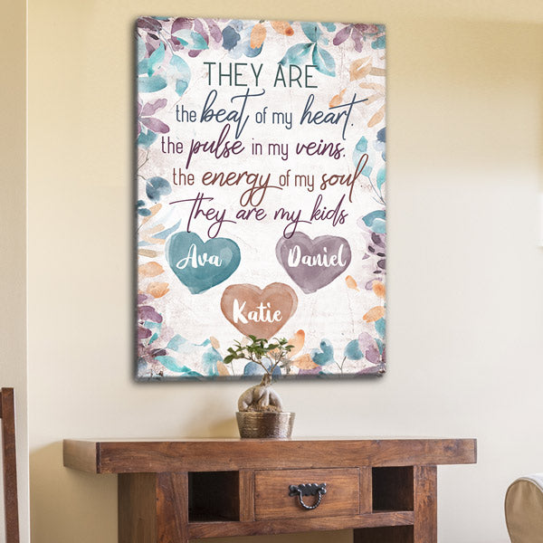 "Personalized ""They Are The Beat Of My Heart"" Premium Canvas"
