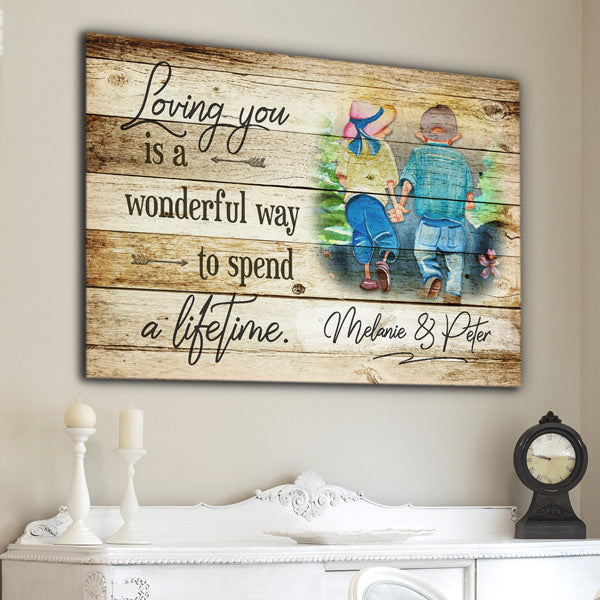 "Personalized ""Loving You-A Wonderful Way To Spend  A Lifetime"" Premium Canvas Wall Art"