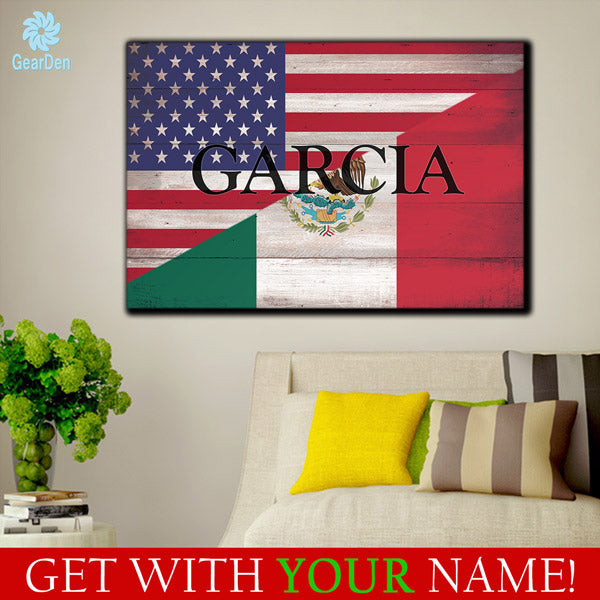 Personalized Mexican American Flag & Family Name Premium Canvas