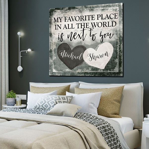 "Personalized ""My Favorite Place Is Next To You"" Premium Canvas"