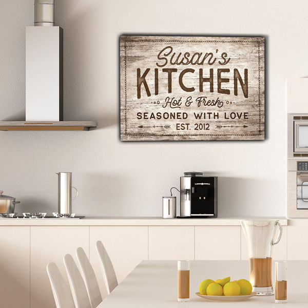 "Personalized ""Kitchen - Seasoned With Love"" Premium Canvas"
