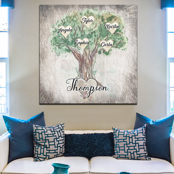 "Personalized ""Family Names On Tree"" Premium Canvas Wall Art"