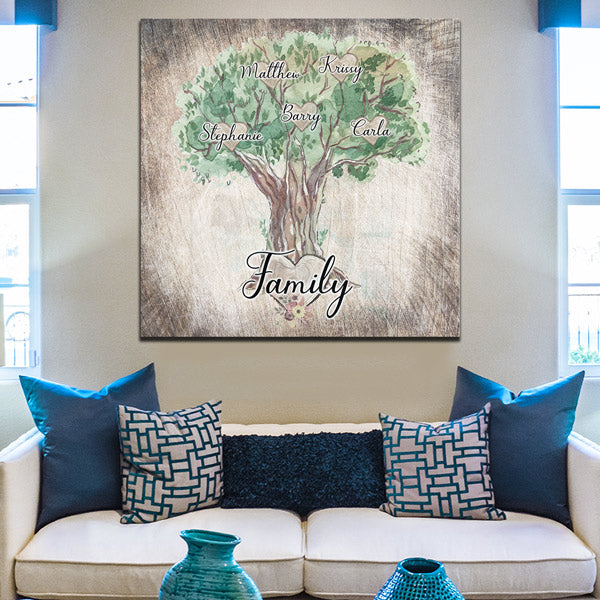 "Personalized Family ""Names On Tree"" Premium Canvas"