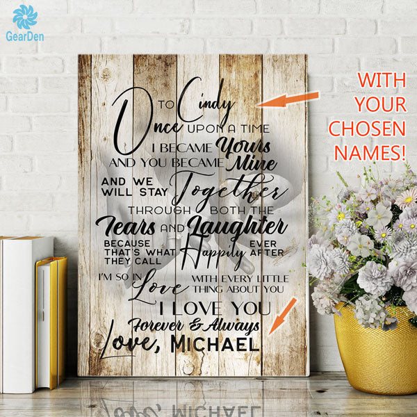 "Personalized ""To My Wife - Once Upon A Time.."" Premium Canvas"