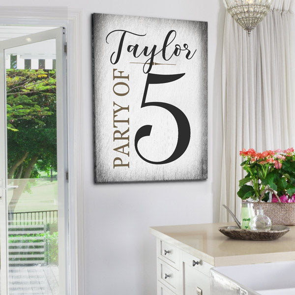 "Personalized Family Name ""Party of. ."" Premium Canvas"