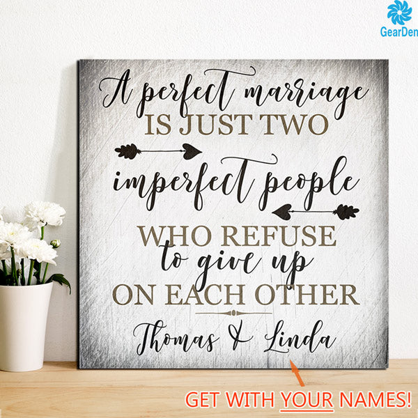 "Personalized ""A Perfect Marriage"" Premium Canvas"