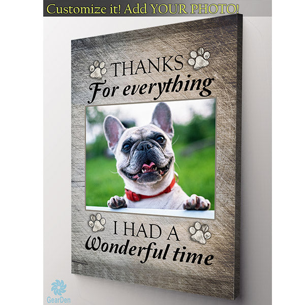 personalized photo dog memorial canvas print thanks for everything