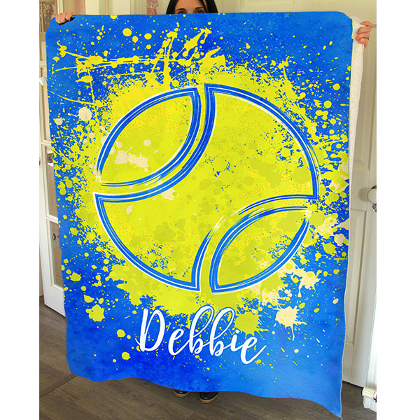 "Personalized ""Tennis Ball Splash"" Premium Fleece Blanket"