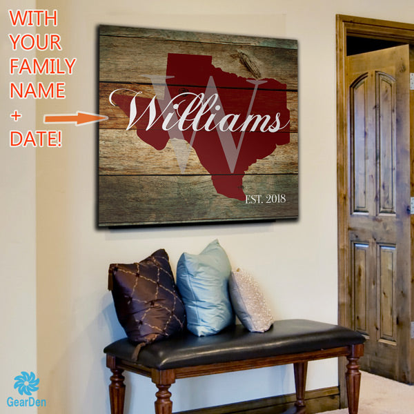 "Personalized ""Texas Family Name"" Canvas Wall Art"