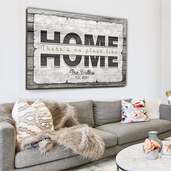 "Personalized ""There's No Place Like Home"" Premium Canvas Wall Art"