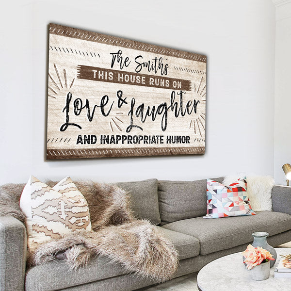 "Personalized ""This House Runs On Love & Laughter"" Premium Canvas"