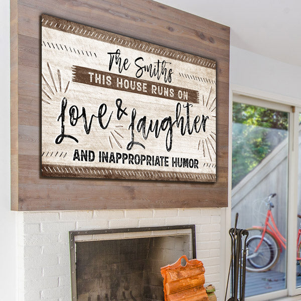 "Personalized ""This House Runs On Love & Laughter"" Premium Canvas Wall Art"