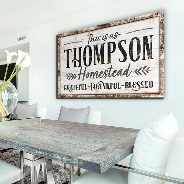 "Personalized ""This Is Us - Grateful, Thankful, Blessed"" Premium Canvas Wall Art"