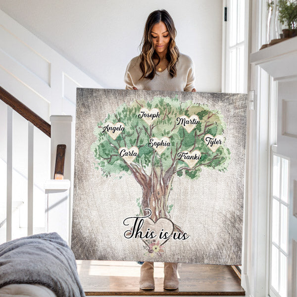 Personalized Family - Names On Tree Premium Canvas v2