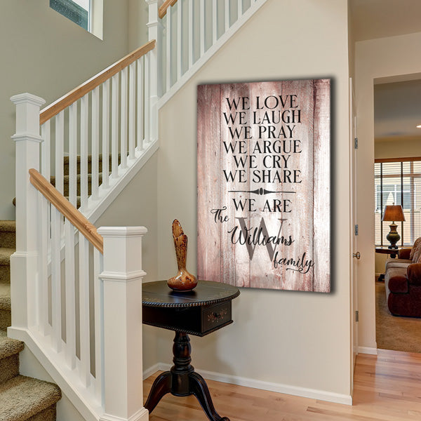 "Personalized ""We Love, We Laugh, We Are Family"" Premium Canvas Wall Art"