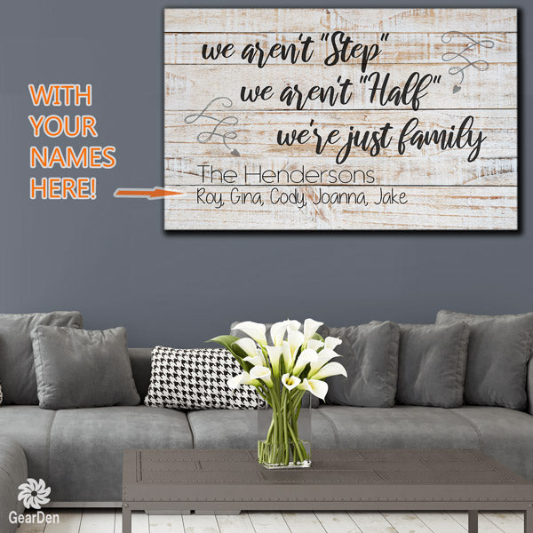 personalized we aren't step half  family name canvas wall art large