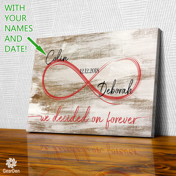 personalized we decided on forever wedding date names canvas wall art