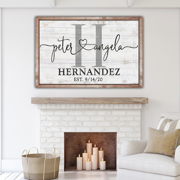 "Personalized ""Couple's Names Joined by Love"" Rustic Premium Canvas"