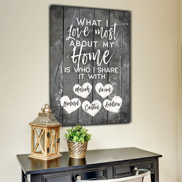 "Personalized ""What I Love Most About My Home"" Premium Canvas"