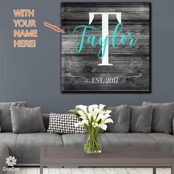 personalized wood teal family name canvas wall art large