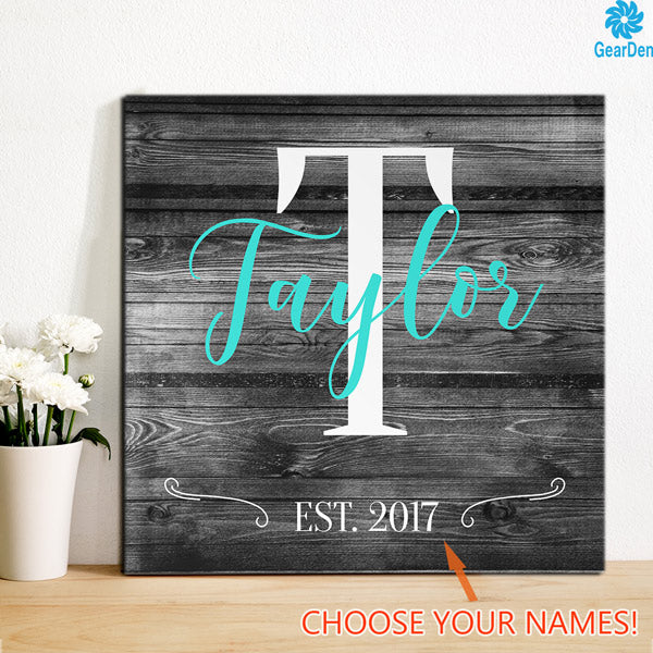 "Personalized ""Family Name"" Color-Choice Premium Canvas"