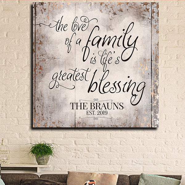 personalized The love of a family is life's greatest blessing canvas wall art