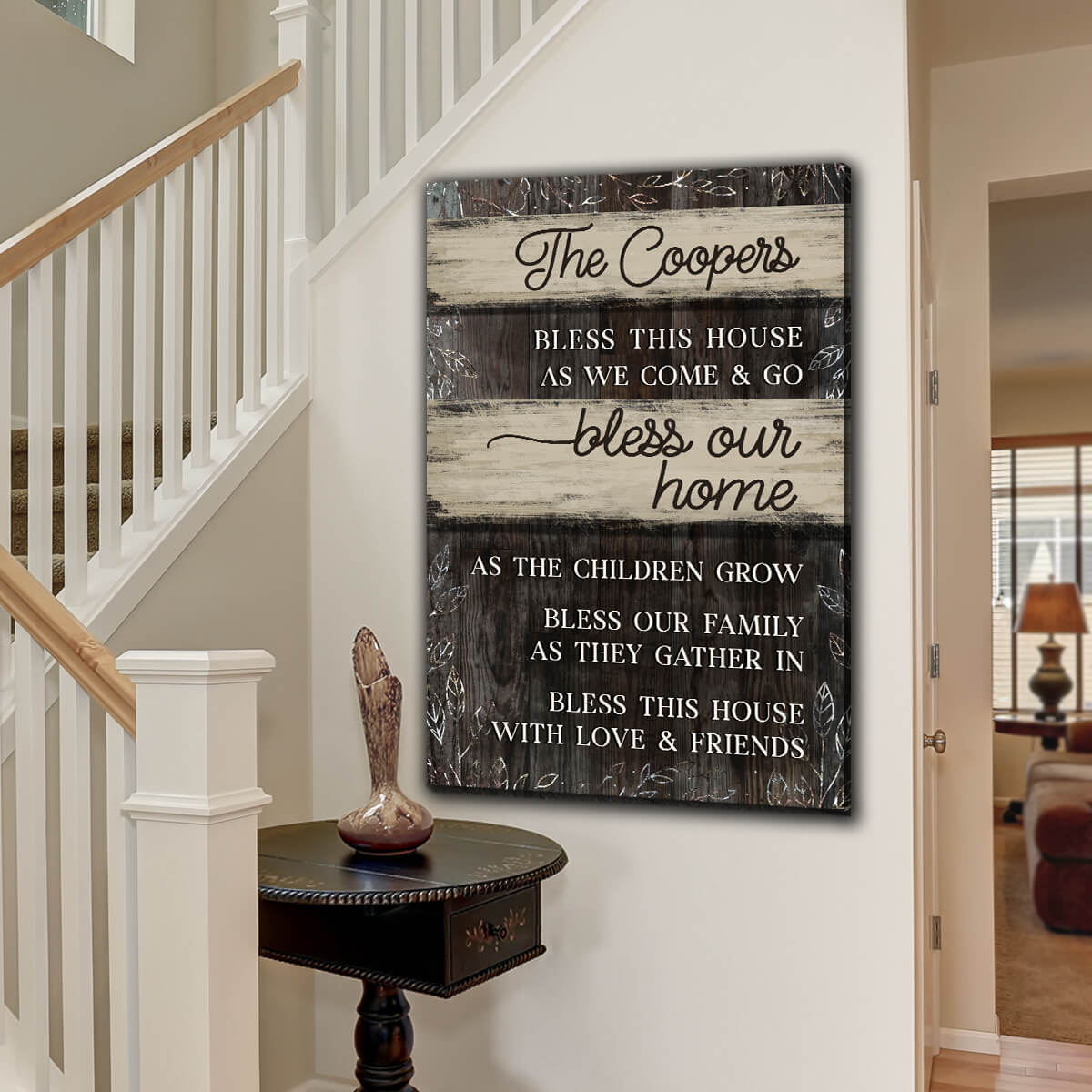 "Personalized ""Bless This House As We Come & Go"" Premium Canvas"