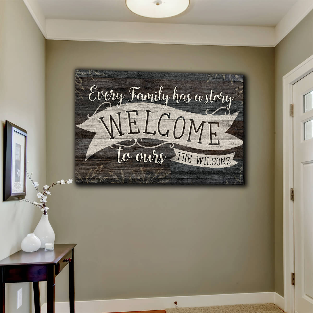"Personalized ""Every Family Has A Story"" Premium Canvas Wall Art"