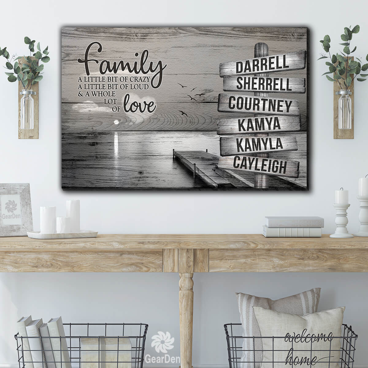 "Personalized Names ""Family...Love"" Premium Canvas Wall Art"