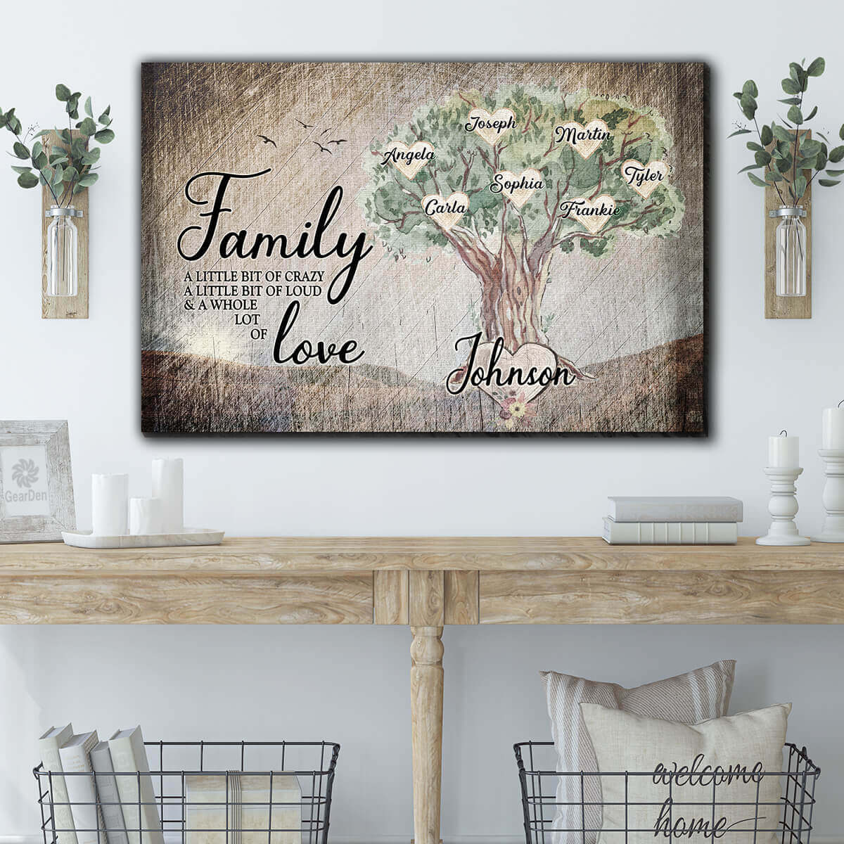 "Personalized ""Family Tree - Crazy, Love"" Premium Canvas Wall Art"