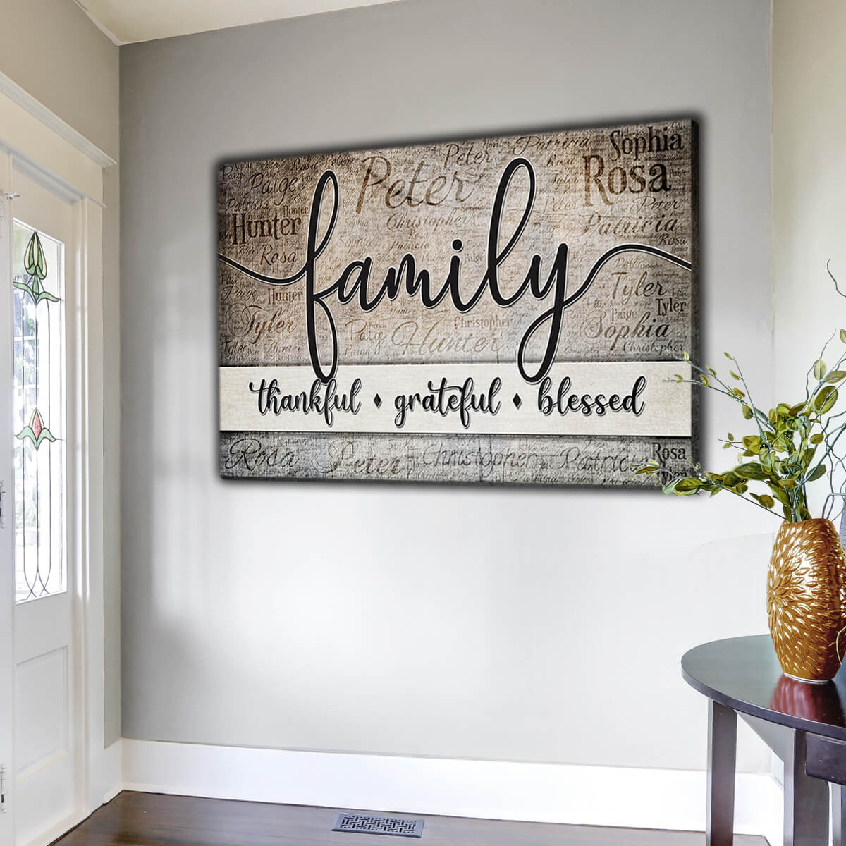 "Personalized ""Thankful. Grateful. Blessed"" With Names On Background Premium Canvas Wall Art"