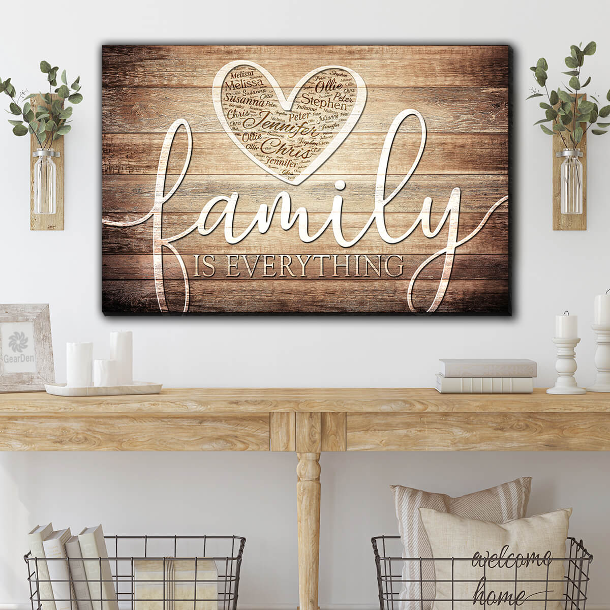 "Personalized ""Family Is Everything - Names On Heart"" Premium Canvas Wall Art"